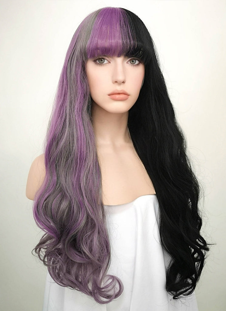 "24"" Wavy Grey Mixed Purple Black Split Color Lace Front Synthetic Wig LF869 - Wig Is Fashion"