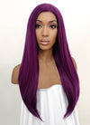 Straight Dark Purple Lace Front Synthetic Wig LFB029 - Wig Is Fashion