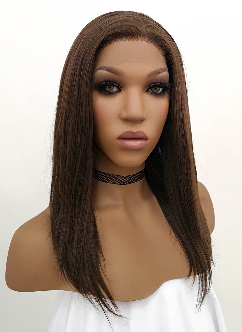 Brunette Straight Bob Lace Front Synthetic Wig LFB265