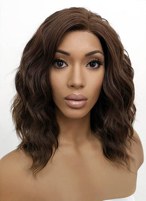 Brunette Wavy Bob Lace Front Synthetic Wig LFB407 - Wig Is Fashion