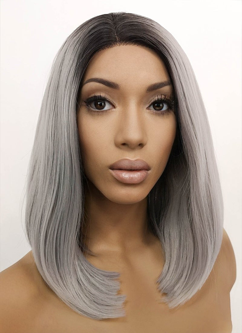 Grey With Dark Roots Straight Bob Lace Front Synthetic Wig LFB837
