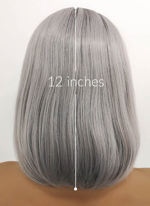 Grey With Dark Roots Straight Bob Lace Front Synthetic Wig LFB837 - Wig Is Fashion