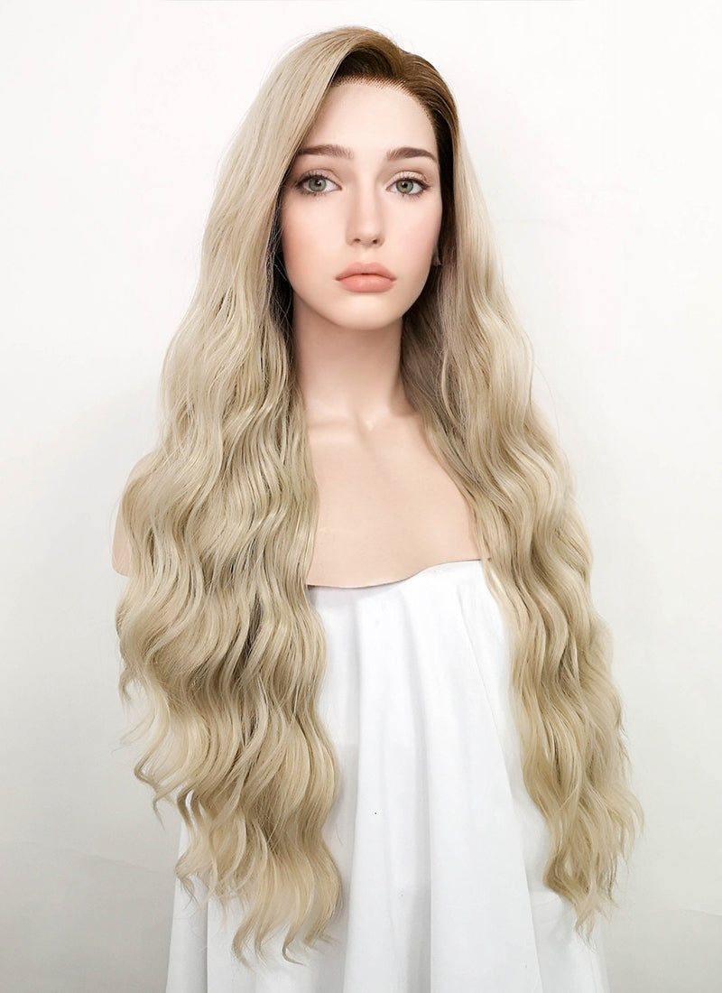 Ash Blonde With Brown Roots Wavy Lace Front Synthetic Wig LFK5501 - Wig Is Fashion
