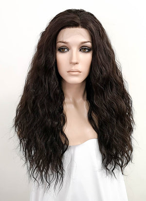Dark Brown Curly Lace Front Synthetic Wig LFK5510