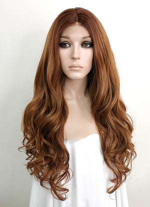 Brown Wavy Lace Front Synthetic Wig LFK5512