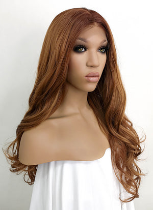 Brown Wavy Lace Front Synthetic Wig LFKB5512