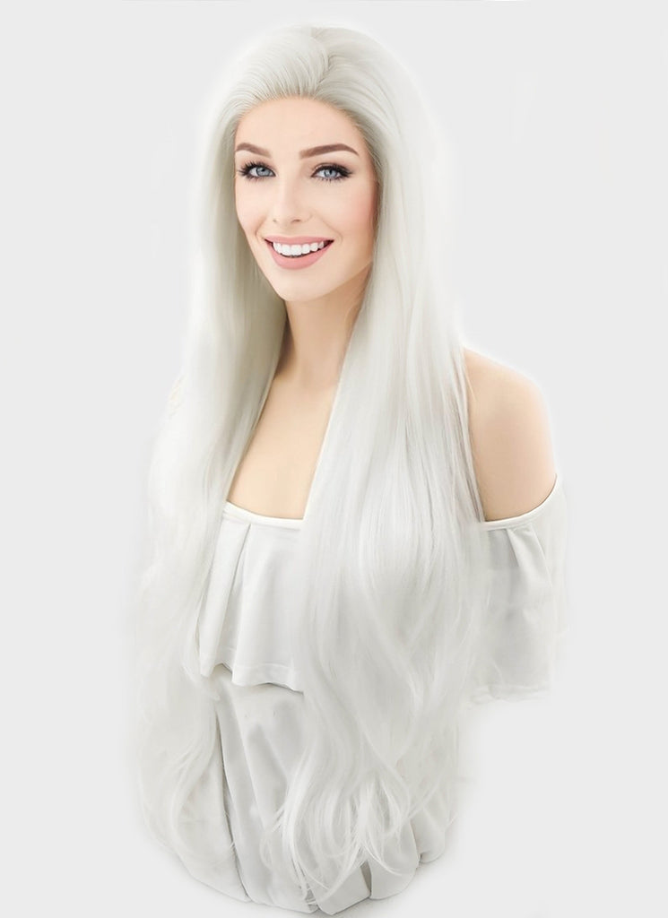 "28"" Wavy Platinum White Lace Front Synthetic Wig LF640H - Wig Is Fashion"