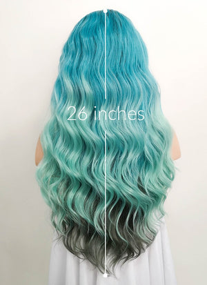 "Blue Green Ombre With Dark Roots Wavy 13"" x 6"" Lace Front Synthetic Wig LFS002 - Wig Is Fashion"