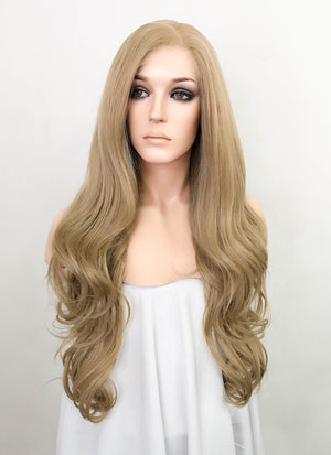 "Ash Blonde Wavy 13"" x 6"" Lace Top Synthetic Wig LFS009"