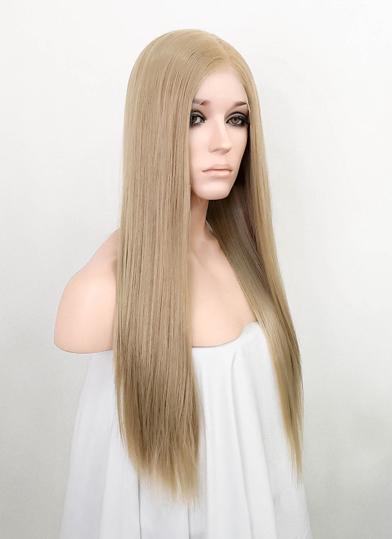 "Ash Blonde Straight 13"" x 6"" Lace Top Synthetic Wig LFS011"