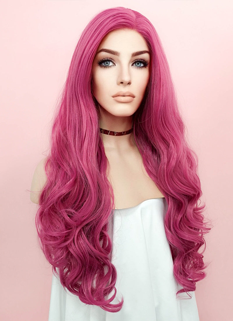 Pink Wavy Lace Front Synthetic Wig LN6004 - Wig Is Fashion