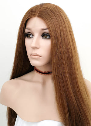 Light Chestnut Brown Wavy Lace Front Synthetic Wig LNK004 - Wig Is Fashion