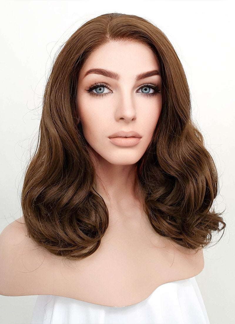 Brown Wavy Bob Lace Front Synthetic Wig LNK007 - Wig Is Fashion