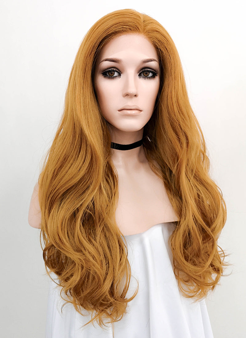 Light Auburn Wavy Lace Front Synthetic Wig LNK008 - Wig Is Fashion