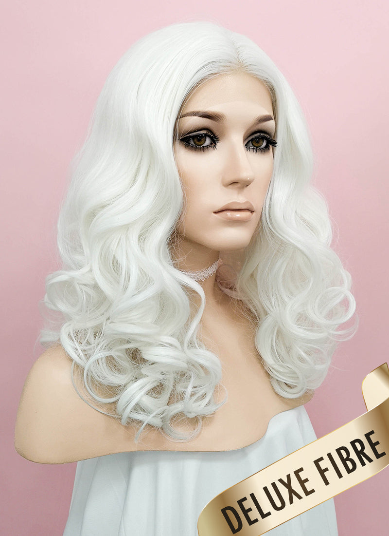 White Wavy Lace Front Synthetic Wig LNK009