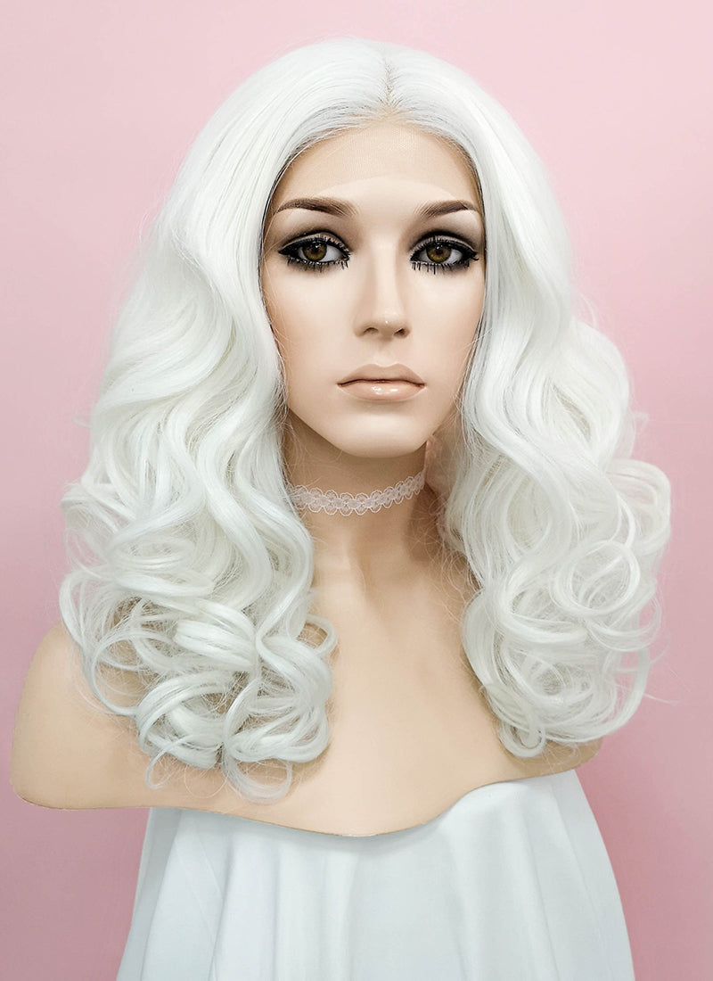 White Wavy Lace Front Synthetic Wig LNK009 - Wig Is Fashion