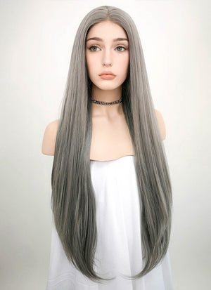 Straight Silver Grey Lace Front Synthetic Wig LW150A - Wig Is Fashion