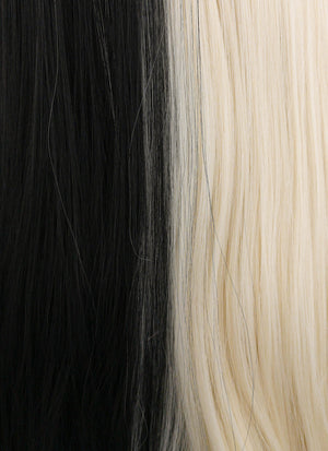 Straight Light Blonde Black Split Color Lace Front Synthetic Wig LW1531 - Wig Is Fashion