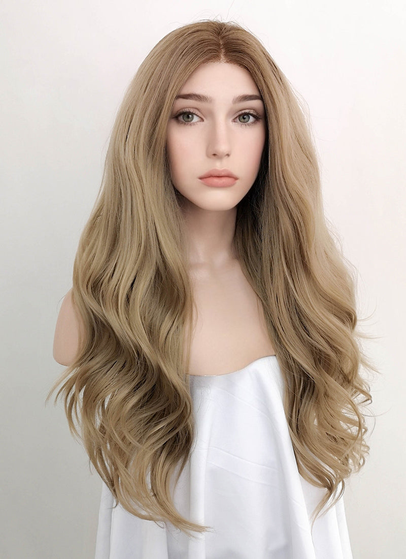 Ash Blonde With Brown Roots Wavy Lace Front Synthetic Wig LW4000 - Wig Is Fashion