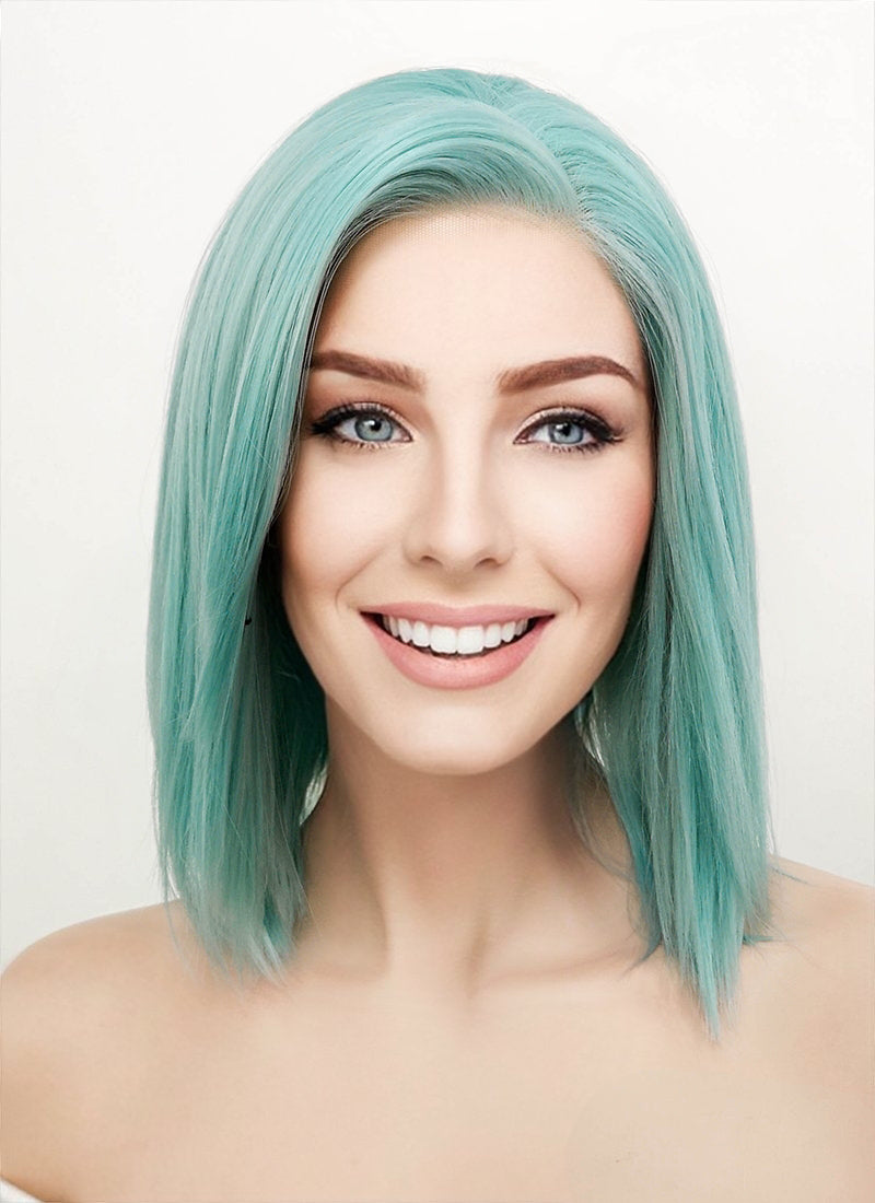 Pastel Coral Blue Straight Bob Lace Front Synthetic Wig LW813B