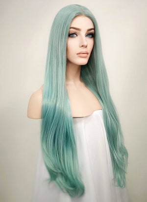 Straight Pastel Coral Blue Lace Front Synthetic Wig LW813 - Wig Is Fashion