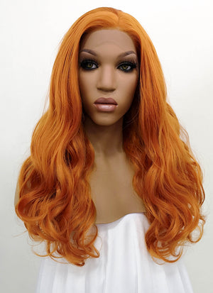 Light Auburn Wavy Lace Front Synthetic Wig LWB085E - Wig Is Fashion