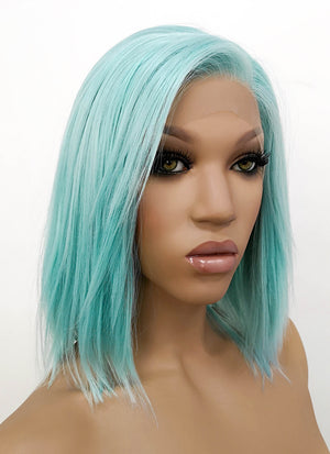 Pastel Coral Blue Straight Bob Lace Front Synthetic Wig LWB813B