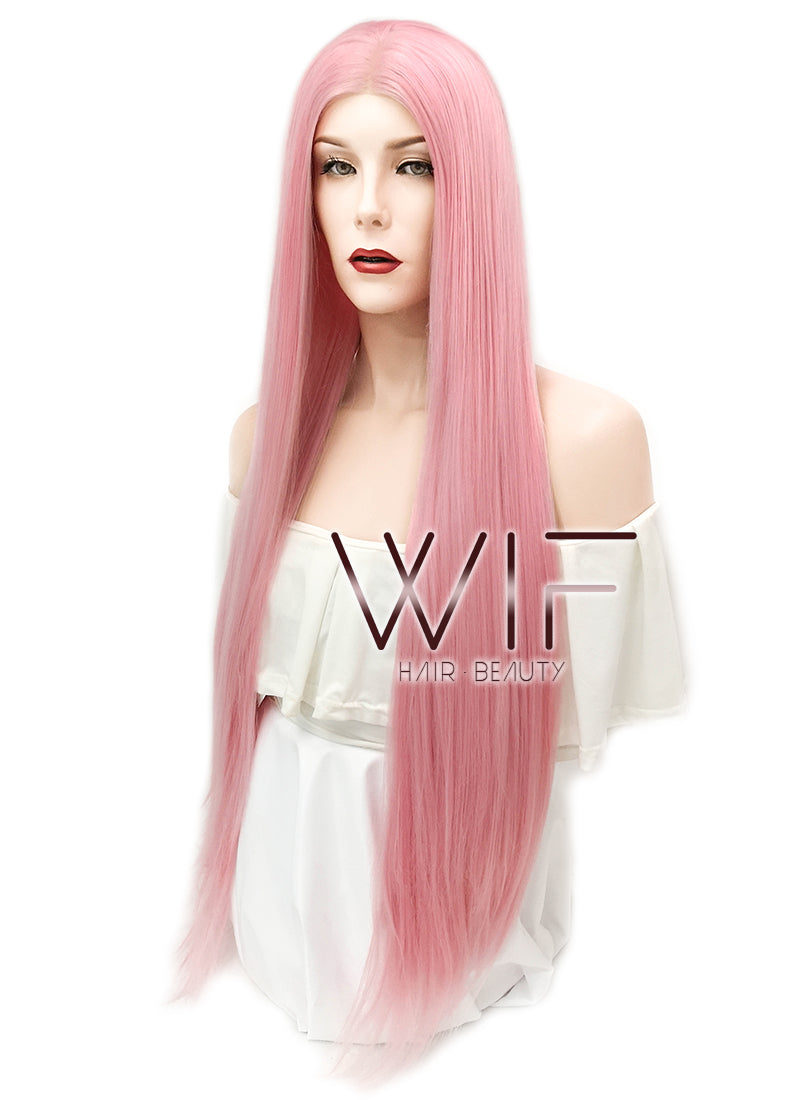 Straight Pink Lace Front Synthetic Wig LW857 - Wig Is Fashion