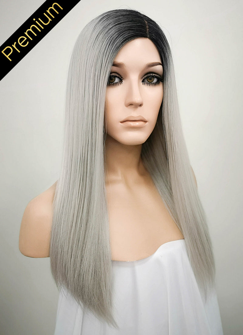Grey With Dark Roots Mono Parted Glueless Lace Wig MP013 - Wig Is Fashion