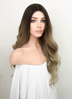 Two Tone Brown With Dark Roots Wavy Synthetic Wig NL002