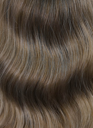Ash Brown With Dark Roots Wavy Bob Synthetic Wig NL019