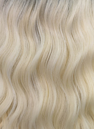 Light Blonde With Dark Roots Wavy Bob Synthetic Wig NL020