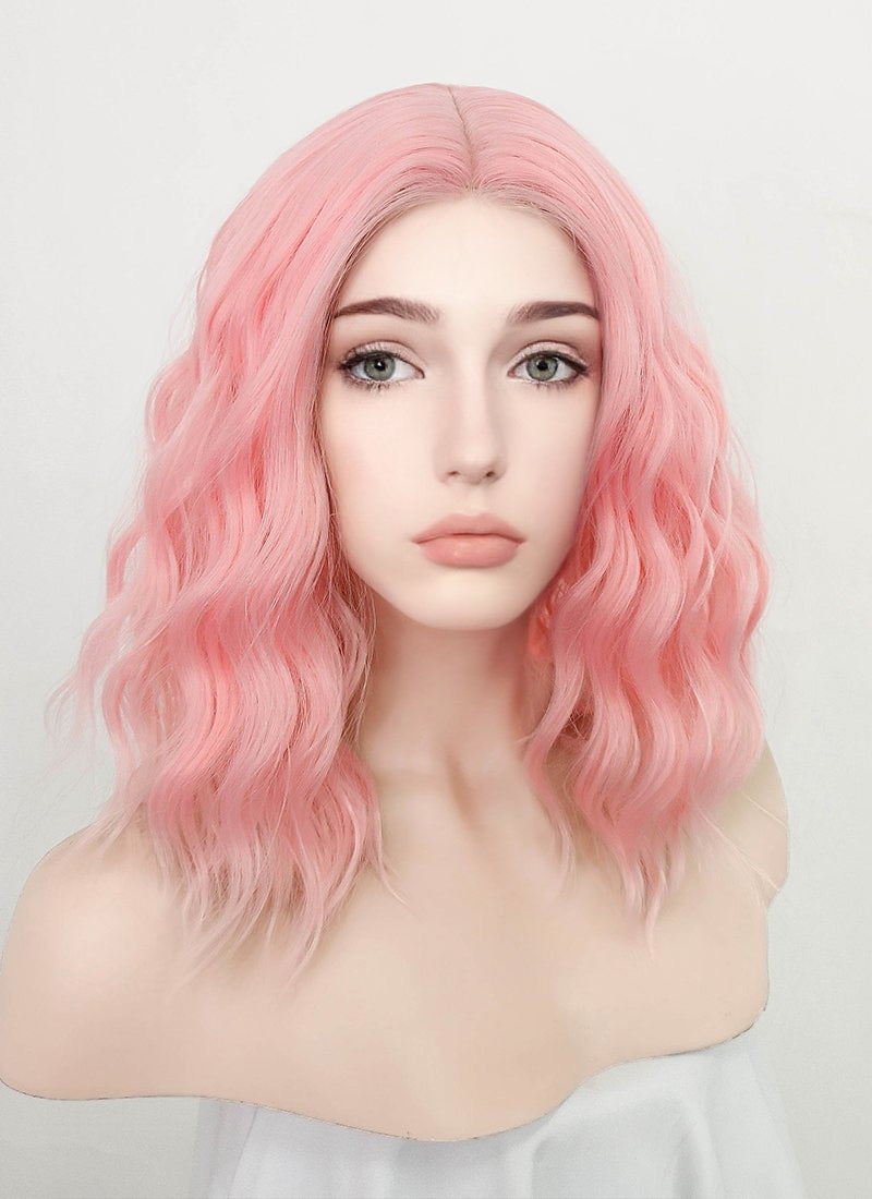 Pastel Pink Wavy Bob Synthetic Wig NL030
