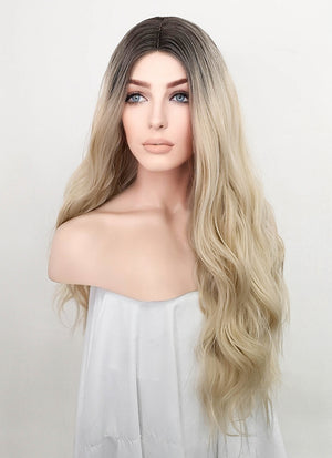 Ash Blonde With Dark Roots Wavy Synthetic Wig NL032