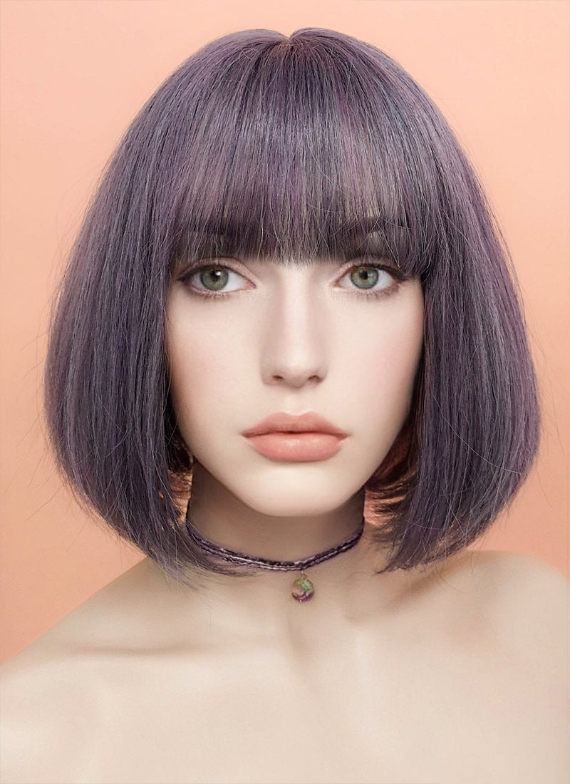 Ash Purple Straight Bob Synthetic Wig NS030 - Wig Is Fashion