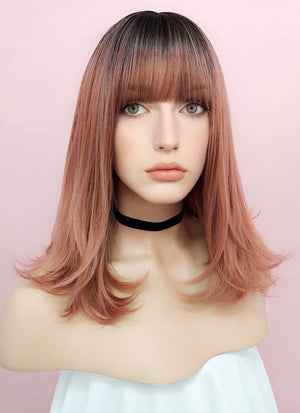 Rose Pink With Dark Roots Straight Synthetic Wig NS035 - Wig Is Fashion
