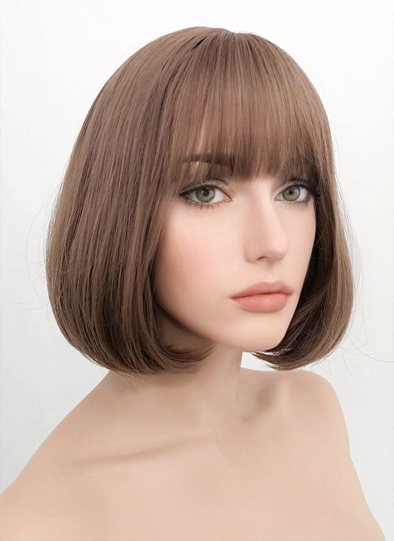 Ash Pink Straight Bob Synthetic Wig NS047 - Wig Is Fashion Australia