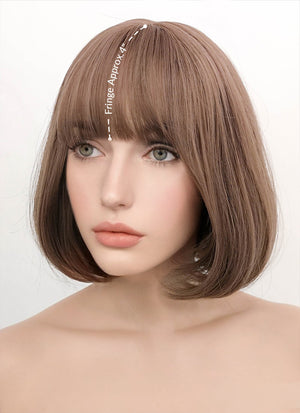 Ash Pink Straight Bob Synthetic Wig NS047 - Wig Is Fashion