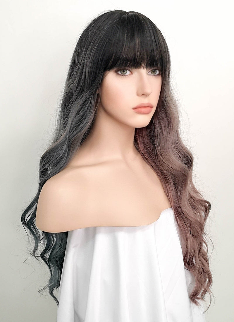 Ash Blue Pale Plum Split Color With Dark Roots Wavy Synthetic Wig NS058 - Wig Is Fashion