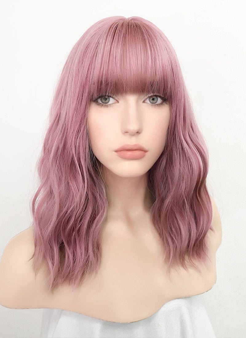Pink Wavy Bob Synthetic Wig NS063