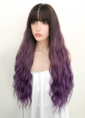 Two Tone Purple With Dark Roots Wavy Synthetic Wig NS068 - Wig Is Fashion Australia