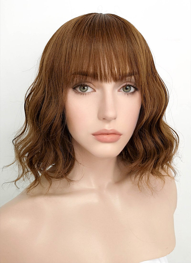 Chestnut Brown Wavy Bob Synthetic Wig NS113