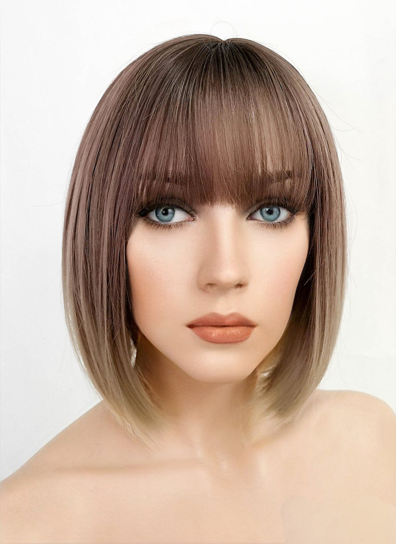 Ash Pink Blonde Ombre Bob Straight Synthetic Wig NS118