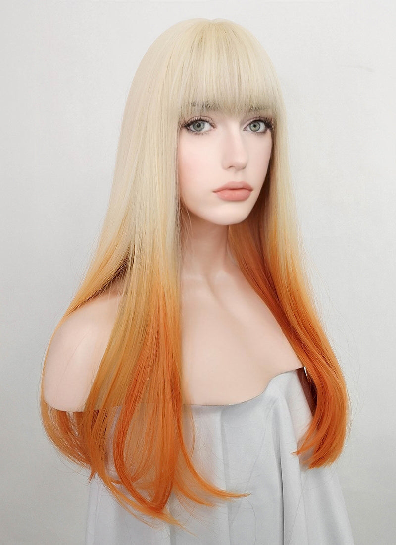 Light Blonde Orange Ombre Straight Synthetic Wig NS221