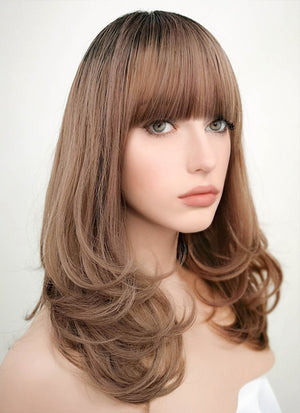Brown With Dark Roots Wavy Bob Synthetic Wig PN001 - Wig Is Fashion