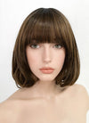 Brown With Dark Roots Straight Bob Synthetic Wig PN014