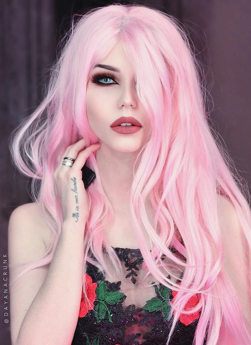 Wavy Pastel Pink Lace Front Synthetic Wig LF084 - Wig Is Fashion