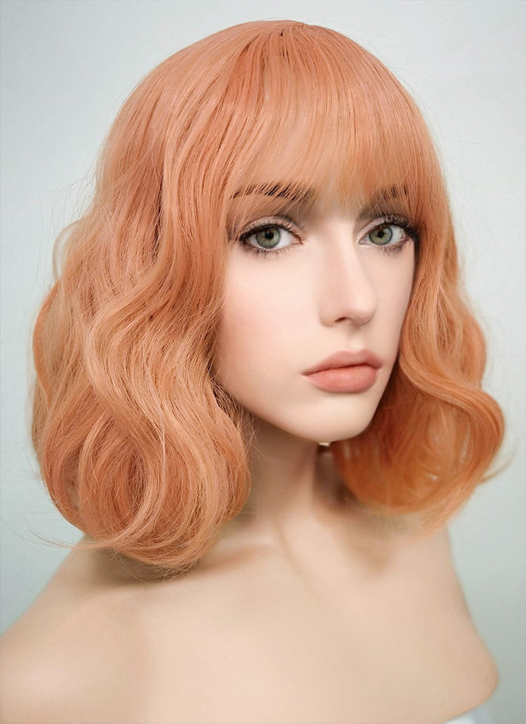 "12"" Pale Pink Wavy Bob Synthetic Wig CM197 - Wig Is Fashion"