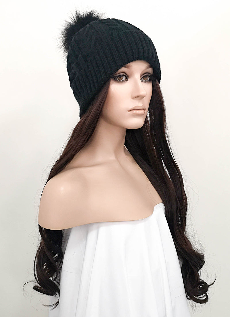 Black Beanie With Wavy Brunette Hair Attached CW001 - Wig Is Fashion