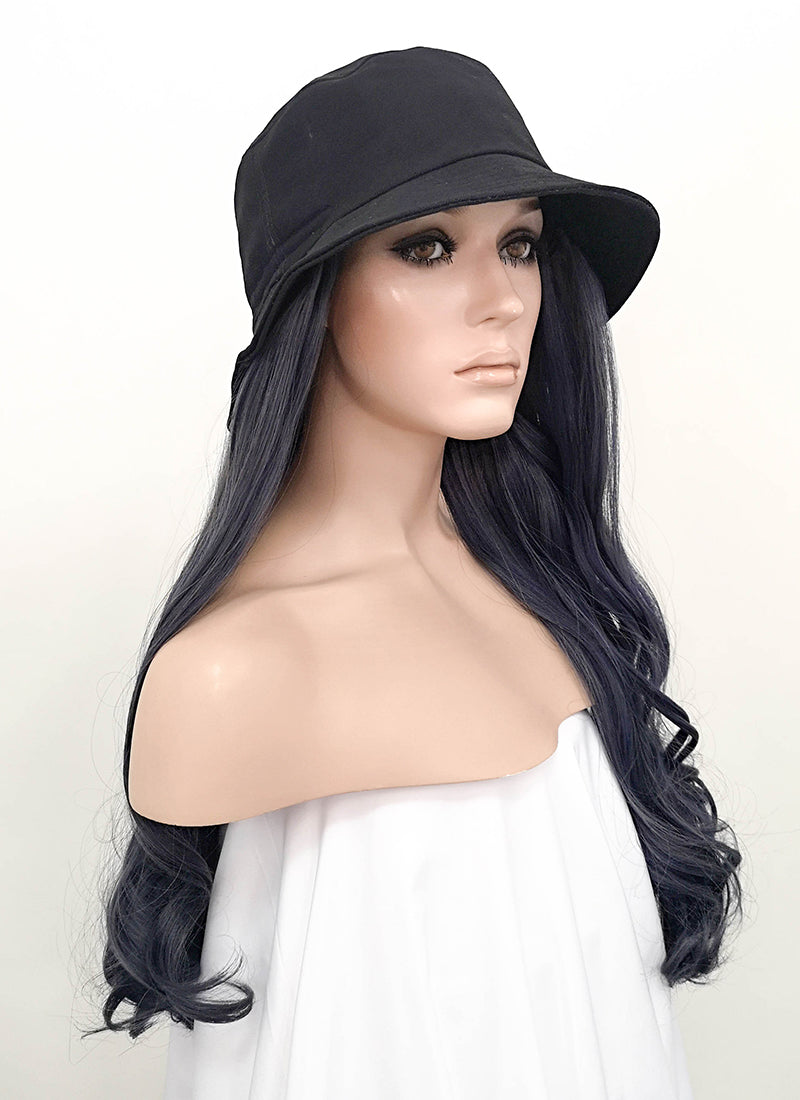 Black Bucket Hat With Wavy Black Green Ombre Hair Attached Cw005 Wig Is Fashion